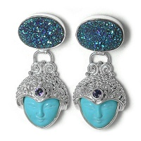 Turquoise Goddess Earrings with Iolite and Caribbean Druzy