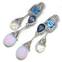 Swiss Blue Topaz, Neptune Topaz, Opalite & White Topaz Clip-On Earrings