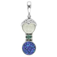 Goddess Pendant with Caribbean Druzy & Apatite