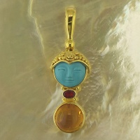 Turquoise Goddess, and Mexican Fire Opal Vermeil Pendant