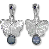 Mother of Pearl Butterfly, Kyanite and Iolite Post Earrings