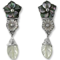Grey Mother of Pearl Shell Flower Post Earrings
