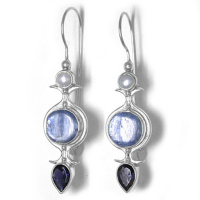 Kyanite, Pearl, and Iolite Latch-Back Earrings
