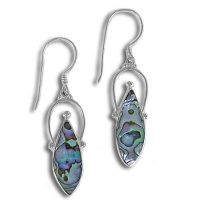 Sterling Silver Hand Crafted Paua Shell Dangle Earrings