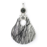 Picasso Marble Pendant with Rainbow Obsidian, Rainbow & Grey Moonstone