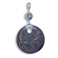Carved Horses Obsidian Silver Pendant