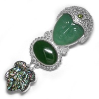 Aventurine Goddess Pin-Pendant with Jade and Paua