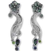 Mother of Pearl Flower Earrings with Moonstone, Peridot, Mystic Topaz and Iolite