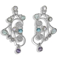 Moonstone, Sky Blue & Swiss Blue Topaz, Rainbow Moonstone & Iolite Post Earrings