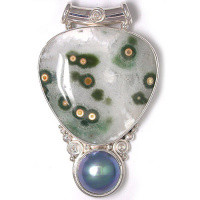 Ocean Jasper and Gray Mabe Pendant