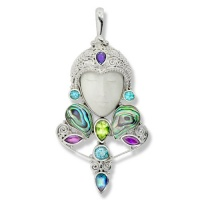 Goddess Pendant with Paua Shell, Swiss Blue Topaz, Iolite, Peridot, Amethyst, and Neptune Topaz