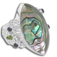 Abalone Shell Ring with Peridot and Amethyst