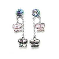 Paua Shell Earrings with Pink Mother of Pearl and Abalone Butterlfies