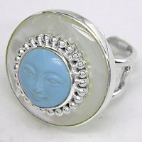 Turquoise Goddess Ring with Mother of Pearl