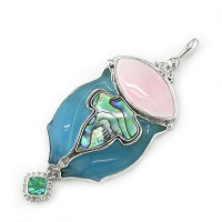 Fiber Optic Dolphin & Shell Pendant