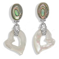 Mother of Pearl Heart & Abalone Shell Post Earrings