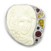 Flower Goddess Pin Pendant with Amber, Garnet, Citrine & Black Star Diopside
