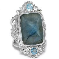Pyramid Cut Labradorite Ring with Swiss Blue Topaz