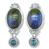 Labradorite Post Earrings with Swiss BLue Topaz