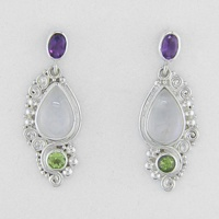 Rainbow Moonstone, Amethyst and Peridot Post Earrings