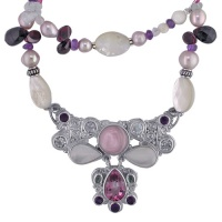 Pink Mother of Pearl, Pink Topaz and Amethyst Multi Gemstone Necklace