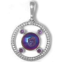 Rainbow Window Druzy Pendant with Amethyst