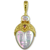Opalized White Fiber Optic Vermeil Goddess Pendant