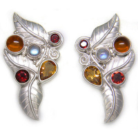 Multi-Gemstone Sterling Silver Leaf Clip on Earrings with Amber and Citrine