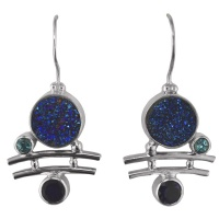 Blue Druzy, Iolite and Blue Topaz Earrings