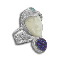 Goddess Ring with Caribbean Druzy & Apatite