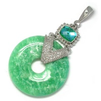 Amazonite Silver Pendant with Caribbean Quartz