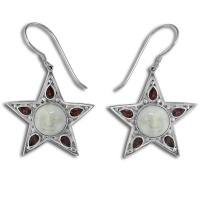 Star Goddess Dangle Earrings with Garnet