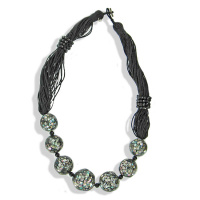 Abalone Shell Mosaic, Black Agate Bead with Multi-Strand Cord Necklace