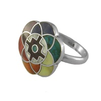 "Peruvian ""Sacred Flower of Life"" Ring"