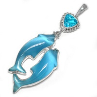 Blue Fiber Optic Dolphin Pendant with Teal Quartz