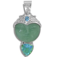 Aventurine Goddess, Caribbean Quartz and Swiss Blue Topaz Pendant