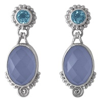 Faceted Blue Chalcedony and Swiss Blue Topaz Post Earrings