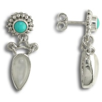 Turquoise and Moonstone Post Earrings