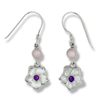 Mother of Pearl Flower Earrings with Rose Quartz and Amethyst