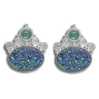 Green Druzy & Apatite Post Earrings