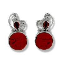 Cinnabar Round and Garnet Pear Post Earrings