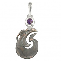 Black Rainbow Shell Pendant with Amethyst