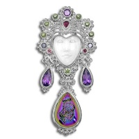 Ornate Sterling Silver Goddess Pin-Pendant with Rainbow Window Druzy & Gemstones