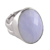 Oval Blue Lace Agate Silver Ring