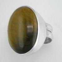 Oval Tiger Eye Silver Ring