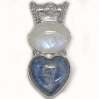 Kyanite Heart and Rainbow Moonstone Pendant