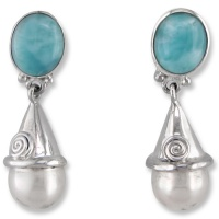 Larimar Post Earrings with Sterling Silver Capped Pearl Dangle