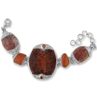 Fire Agate, Carnelian and Fire Opal Bracelet