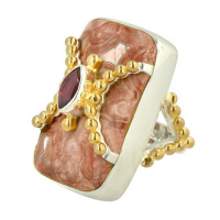 Mexican Crazy Lace & Garnet Ring wih Vermeil