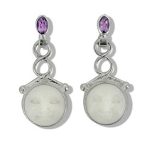 Goddess Dangle Earrings on Amethyst Post